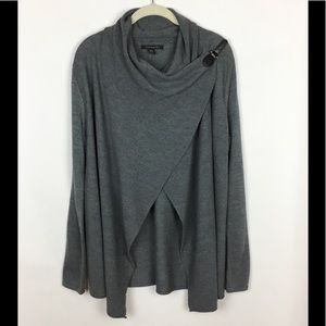 Tahari Wrap Sweater Cardigan Merino Wool Gray